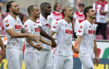 COLOGNE, GERMANY - AUGUST 27: LtoR Marco Hoeger, Matthias Lehmann, Anthony Modeste, Marcel Risse and Jonas Hector stand in front of supporters after the Bundesliga match between 1. FC Koeln and SV Darmstadt 98 at RheinEnergieStadion on August 27, 2016 in Cologne, Germany. (Photo by Juergen Schwarz/Bongarts/Getty Images)