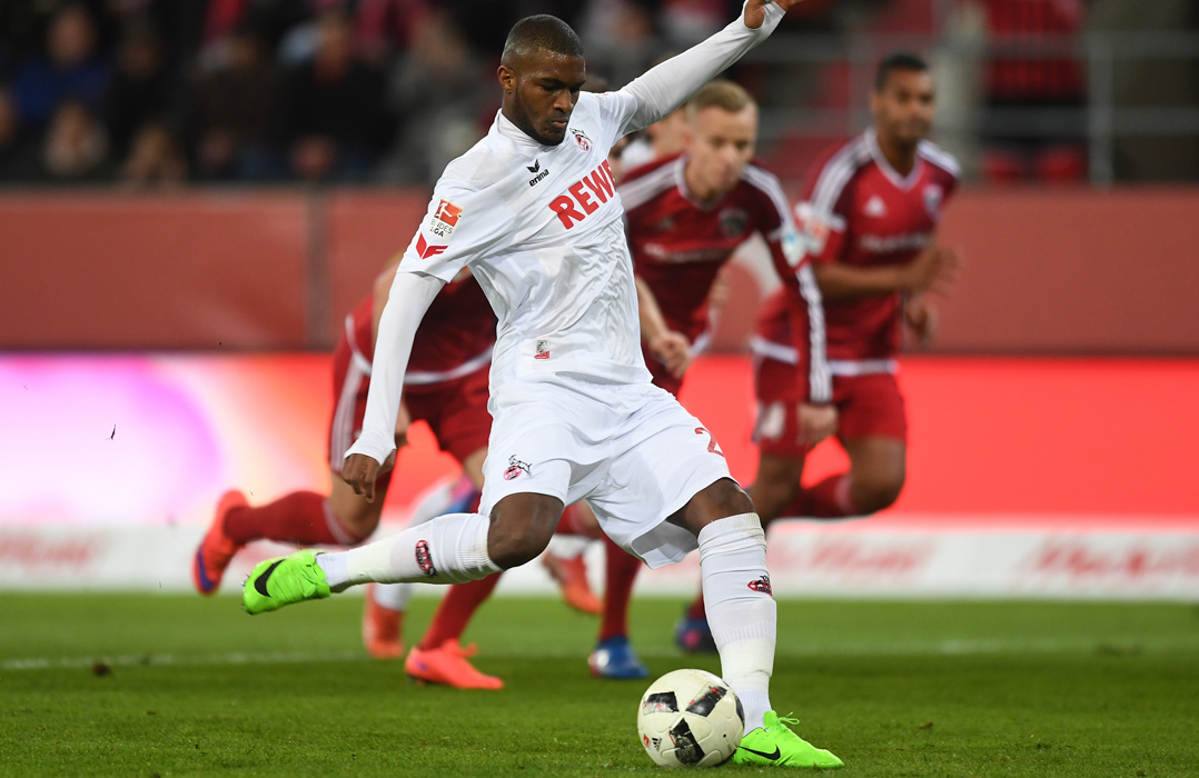 INGOLSTADT, GERMANY - MARCH 11: Anthony Modeste of 1. FC Koeln scores his side's first goal with a penalty during the Bundesliga match between FC Ingolstadt 04 and 1. FC Koeln at Audi Sportpark on March 11, 2017 in Ingolstadt, Germany. (Photo by Lennart Preiss/Bongarts/Getty Images)