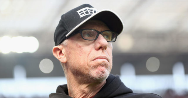 COLOGNE, GERMANY - APRIL 08: Head coach Peter Stoeger of Koeln looks on prior to the Bundesliga match between 1. FC Koeln and Borussia Moenchengladbach at RheinEnergieStadion on April 8, 2017 in Cologne, Germany.