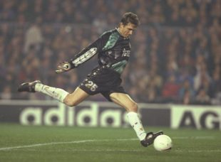 30 Jan 1997: Bodo Illgner of Real Madrid in action during the Spanish cup match between Barcelona and Real Madrid at the Nou Camp Stadium in Barcelona, Spain. Barcelona won 3-2. Mandatory Credit