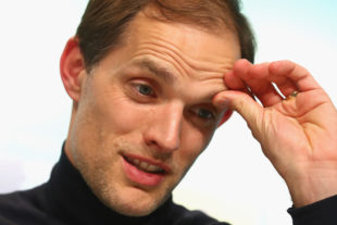 MUNICH, GERMANY - APRIL 26: Thomas Tuchel, head coach of Dortmund looks on during a press conference after the DFB Cup semi final match between FC Bayern Muenchen and Borussia Dortmund at Allianz Arena on April 26, 2017 in Munich, Germany.