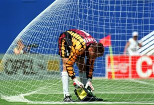27 Jun 1994: GOAL KEEPER BODO ILLGNER OF GERMANY DURING A BREAK IN ACTION DURING GERMANY'S 3-2 VICTORY OVER SOUTH KOREA IN A 1994 WORLD CUP GAME AT THE COTTON BOWL IN DALLAS, TEXAS.