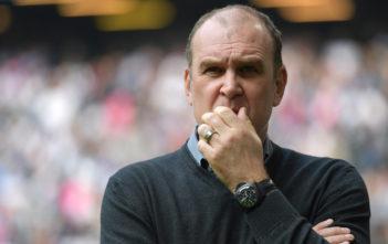 HAMBURG, GERMANY - APRIL 01: Joerg Schmadtke, sports director of Cologne looks troubled during the Bundesliga match between Hamburger SV and 1. FC Koeln at Volksparkstadion on April 1, 2017 in Hamburg, Germany.