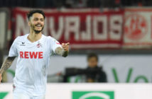Cologne's midfielder Leonardo Bittencourt celebrate scoring during the German first division Bundesliga football match 1 FC Cologne v TSG 1899 Hoffenheim in Cologne, western Germany, on April 21, 2017.