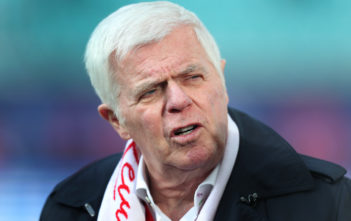 LEIPZIG, GERMANY - FEBRUARY 25: President Werner Spinner of Koeln looks on prior to the Bundesliga match between RB Leipzig and 1. FC Koeln at Red Bull Arena on February 25, 2017 in Leipzig, Germany.