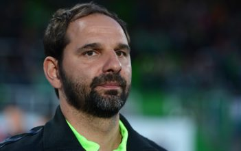 FUERTH, GERMANY - APRIL 04: Stefan Ruthenbeck, head coach of Fuerth looks on prior to the Second Bundesliga match between SpVgg Greuther Fuerth and SC Freiburg at Sportpark Ronhof on April 4, 2016 in Fuerth, Germany.