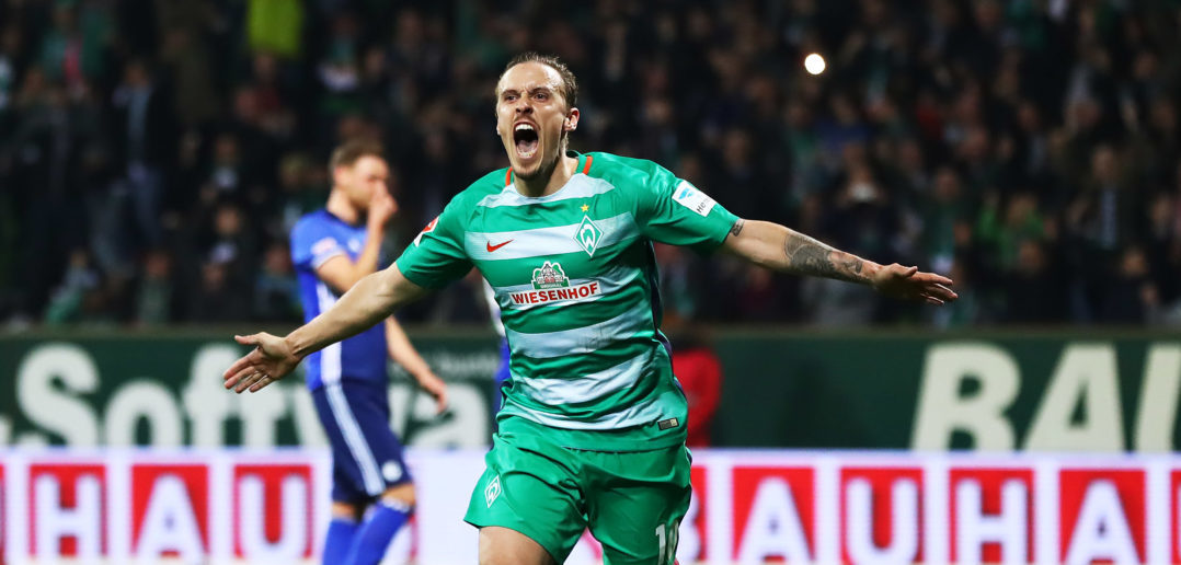 BREMEN, GERMANY - APRIL 04: Max Kruse of Werder Bremen celebrates after scoring the second goal during the Bundesliga match between Werder Bremen and FC Schalke 04 at Weserstadion on April 4, 2017 in Bremen, Germany.