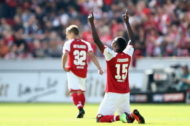 MAINZ, GERMANY - MAY 13: Jhon Cordoba of Mainz celebrates his team's first goal during the Bundesliga match between 1. FSV Mainz 05 and Eintracht Frankfurt at Opel Arena on May 13, 2017 in Mainz, Germany.