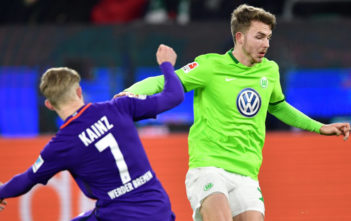 WOLFSBURG, GERMANY - FEBRUARY 24: Florian Kainz of Bremen challenge Jannes Horn of Wolfsburg during the Bundesliga match between VfL Wolfsburg and Werder Bremen at Volkswagen Arena on February 24, 2017 in Wolfsburg, Germany.
