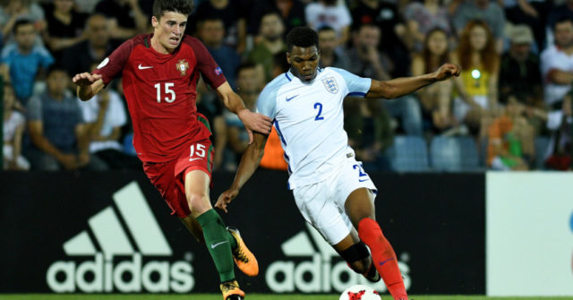 TBILISI, GEORGIA - JULY 15: Dujon Sterling of England in action with Joao Queiros of Portugal during the UEFA European Under-19 Championship Final between England and Portugal on July 15, 2017 in Gori, Georgia. (Photo by Levan Verdzeuli/Getty Images)