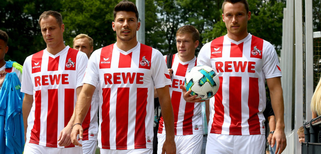 COLOGNE, GERMANY - JULY 03: The players of Koeln on the way to the training session of 1. FC Koeln at RheinEnergieSportpark on July 3, 2017 in Cologne, Germany. (Photo by Christof Koepsel/Bongarts/Getty Images)