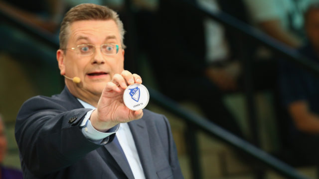 DORTMUND, GERMANY - JUNE 11: Reinhard Grindel, DFB president presents the match between Leher TS and 1. FC Koeln during the DFB Cup Draw at Deutsches Fussballmuseum on June 11, 2017 in Dortmund, Germany. (Photo by Christof Koepsel/Bongarts/Getty Images)