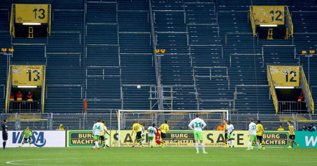 DORTMUND, GERMANY - FEBRUARY 18: Action in front of the empty south tribune during the Bundesliga match between Borussia Dortmund and VfL Wolfsburg at Signal Iduna Park on February 18, 2017 in Dortmund, Germany. (Photo by Christof Koepsel/Bongarts/Getty Images)