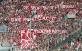 MOENCHENGLADBACH, GERMANY - AUGUST 20: Supporters of Koeln voice their opinion against the DFB with banners during the Bundesliga match between Borussia Moenchengladbach and 1. FC Koeln at Borussia-Park on August 20, 2017 in Moenchengladbach, Germany. (Photo by Christof Koepsel/Bongarts/Getty Images)