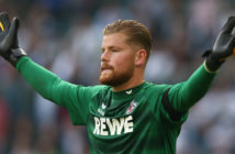 MOENCHENGLADBACH, GERMANY - AUGUST 20: Timo Horn of Koeln during the Bundesliga match between Borussia Moenchengladbach and 1. FC Koeln at Borussia-Park on August 20, 2017 in Moenchengladbach, Germany. (Photo by Christof Koepsel/Bongarts/Getty Images)