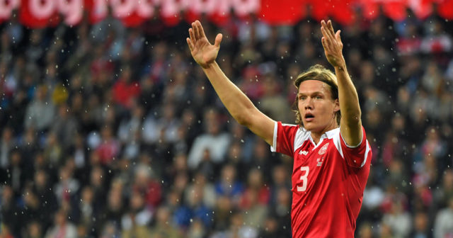 Denmark´s Jannik Vestergaard reacts during the friendly football match between Denmark and Germany in Brondby, Denmark on June 6, 2017. / AFP PHOTO / PATRIK STOLLARZ (Photo credit should read PATRIK STOLLARZ/AFP/Getty Images)