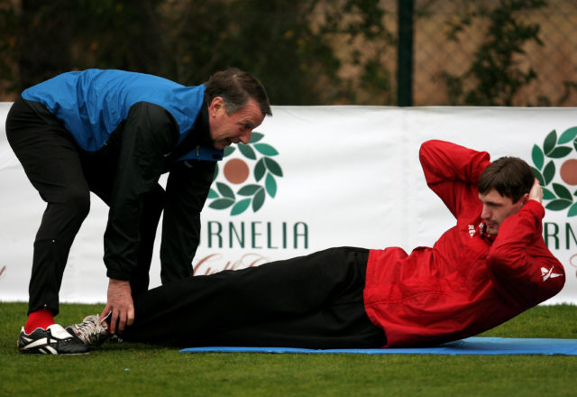 BELEK, TURKEY - JANUARY 16: Injured player Milivoje Novakovic trains with assistant coach Rolf Herings during a training session at the Cornelia football ground during 1. FC Koeln training camp on January 16, 2009 in Belek, Turkey. (Photo by Lars Baron/Bongarts/Getty Images)