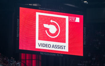COLOGNE, GERMANY - AUGUST 25: The LED board depicting the Video Assist during the Bundesliga match between 1. FC Koeln and Hamburger SV at RheinEnergieStadion on August 25, 2017 in Cologne, Germany. (Photo by Lukas Schulze/Bongarts/Getty Images)