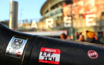 LONDON, ENGLAND - SEPTEMBER 14: FC Koeln stickers are seen outside of Emirates ahead of the UEFA Europa League group H match between Arsenal FC and 1. FC Koeln at Emirates Stadium on September 14, 2017 in London, United Kingdom. (Photo by Richard Heathcote/Getty Images)