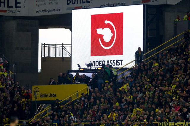 DORTMUND, GERMANY - SEPTEMBER 17: The Sign for the video referee on the screen during the Bundesliga match between Borussia Dortmund and 1. FC Koeln at Signal Iduna Park on September 17, 2017 in Dortmund, Germany. (Photo by Martin Rose/Bongarts/Getty Images)