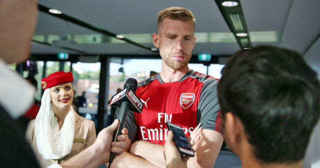 SYDNEY, AUSTRALIA - JULY 12: Per Mertesacker speaks to media during the Emirates Kids Clinic with Arsenal FC at Sydney University on July 12, 2017 in Sydney, Australia. (Photo by Mark Metcalfe/Getty Images for Emirates)
