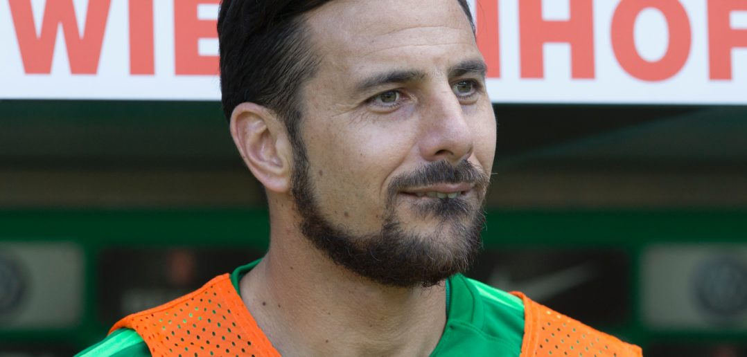 Bremen's Peruvian forward Claudio Pizarro reacts during the German first division Bundesliga football match between Werder Bremen and TSG Hoffenheim on May 13, 2017 in Bremen, northern Germany. / AFP PHOTO / JOERG SARBACH / RESTRICTIONS: DURING MATCH TIME: DFL RULES TO LIMIT THE ONLINE USAGE TO 15 PICTURES PER MATCH AND FORBID IMAGE SEQUENCES TO SIMULATE VIDEO. == RESTRICTED TO EDITORIAL USE == FOR FURTHER QUERIES PLEASE CONTACT DFL DIRECTLY AT + 49 69 650050 (Photo credit should read JOERG SARBACH/AFP/Getty Images)