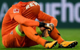 Cologne's German goalkeeper Timo Horn reacts after the German First division Bundesliga football match 1 FC Cologne vs Eintracht Frankfurt in Cologne, western Germany, on September 20, 2017. / AFP PHOTO / PATRIK STOLLARZ (Photo credit should read PATRIK STOLLARZ/AFP/Getty Images)