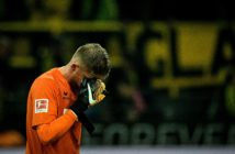 Cologne's German goalkeeper Timo Horn reacts after the German first division Bundesliga football match Borussia Dortmund v FC Cologne, in Dortmund, western Germany, on September 17, 2017. / AFP PHOTO / SASCHA SCHUERMANN / RESTRICTIONS: DURING MATCH TIME: DFL RULES TO LIMIT THE ONLINE USAGE TO 15 PICTURES PER MATCH AND FORBID IMAGE SEQUENCES TO SIMULATE VIDEO. == RESTRICTED TO EDITORIAL USE == FOR FURTHER QUERIES PLEASE CONTACT DFL DIRECTLY AT + 49 69 650050 (Photo credit should read SASCHA SCHUERMANN/AFP/Getty Images)