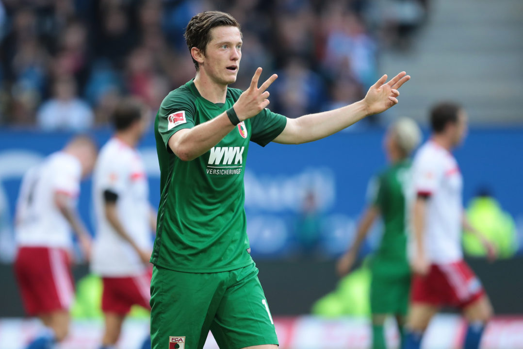 HAMBURG, GERMANY - AUGUST 19: Michael Gregoritsch of Augsburg appears frustrated during the Bundesliga match between Hamburger SV and FC Augsburg at Volksparkstadion on August 19, 2017 in Hamburg, Germany. (Photo by Oliver Hardt/Bongarts/Getty Images)