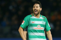 BERLIN, GERMANY - DECEMBER 10: Claudio Pizarro of Bremen gestures during the Bundesliga match between Hertha BSC and SV Werder Bremen at Olympiastadion on December 10, 2016 in Berlin, Germany. (Photo by Matthias Kern/Bongarts/Getty Images)