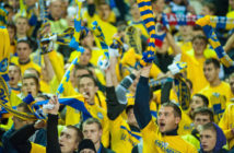 MINSK, BELARUS - OCTOBER 02: FC BATE Borisov supporters during the UEFA Champions League group stage match between FC Bayern Muenchen and FC BATE Borisov at the Dinamo Stadium on October 2, 2012 in Minsk, Belarus. (Photo by Maksim Malinouski/EuroFootball/Getty Images)