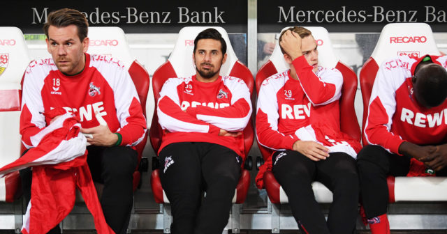 STUTTGART, GERMANY - OCTOBER 13: Claudio Pizarro of 1.FC Koeln sits on the bench during the Bundesliga match between VfB Stuttgart and 1. FC Koeln at Mercedes-Benz Arena on October 13, 2017 in Stuttgart, Germany. (Photo by Matthias Hangst/Bongarts/Getty Images)