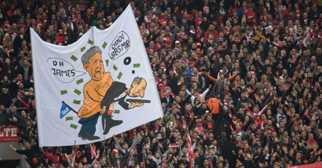 Supporters of Cologne display a banner making fun of Hoffenheim during the German first division Bundesliga football match FC Cologne vs 1899 Hoffenheim in Cologne, western Germany, on November 5, 2017. / AFP PHOTO / PATRIK STOLLARZ / RESTRICTIONS: DURING MATCH TIME: DFL RULES TO LIMIT THE ONLINE USAGE TO 15 PICTURES PER MATCH AND FORBID IMAGE SEQUENCES TO SIMULATE VIDEO. == RESTRICTED TO EDITORIAL USE == FOR FURTHER QUERIES PLEASE CONTACT DFL DIRECTLY AT + 49 69 650050 (Photo credit should read PATRIK STOLLARZ/AFP/Getty Images)